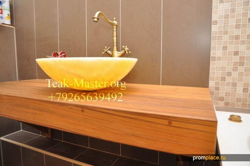 Столешница или стол из дерева Тикового для Ванной комнаты, от Тик-Мастер!