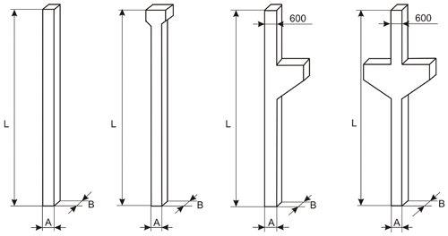 Колонны для высот этажей 3.3, 3.6, 4.2м
