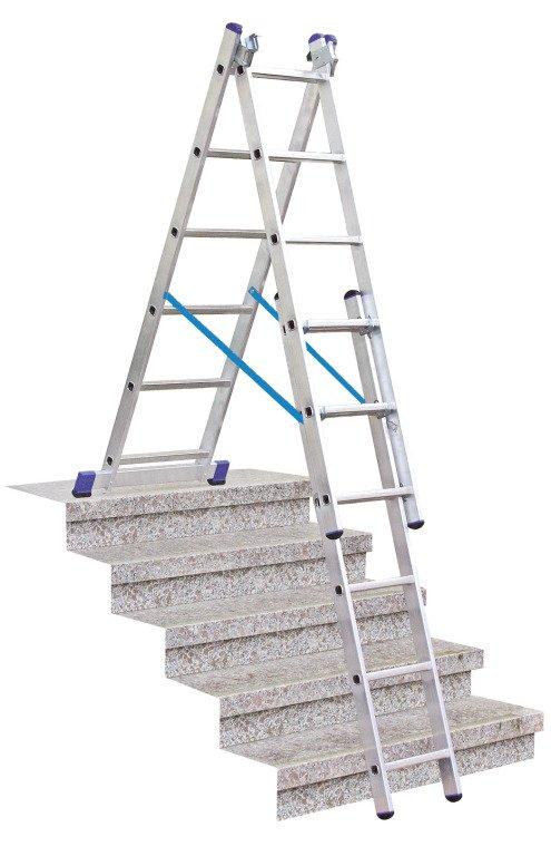 Универсальная трехсекционная лестница с функцией установки на лестничном марше. Рабочая высота: 3,40 m – 7,50 m