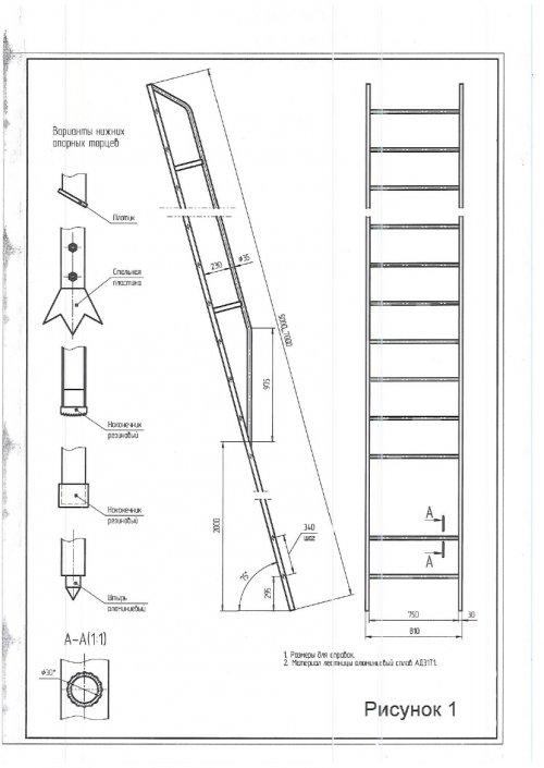 Лестница приставная алюминиевая ширина 0,75м. ГОСТ 26887-86