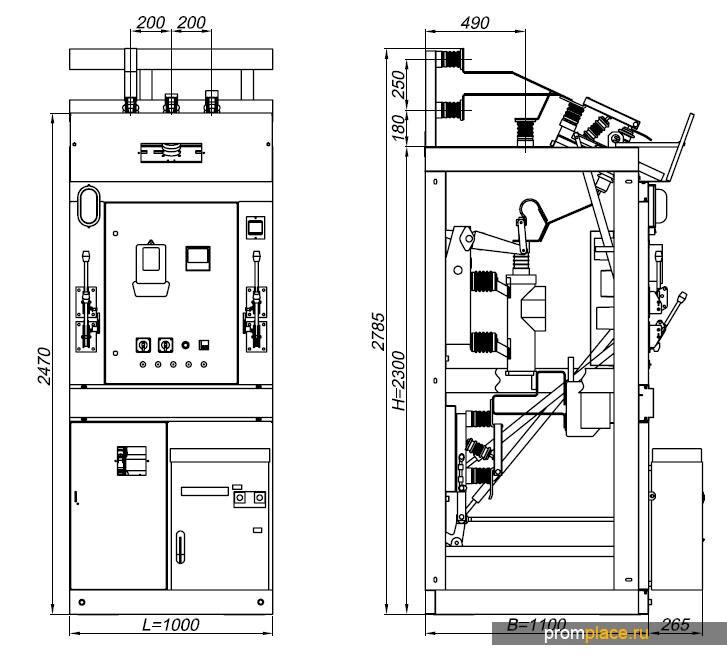 Камера сборная одностороннего обслуживания КСО 2(ХХ) на номинальное напряжение 6 (10) кВ