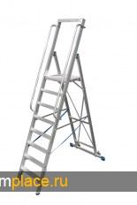 STABILO Стремянка с поручнями и большой площадкой, передвижная, высота площадки до 3,30 м. Рабочая высота: 3,40 m – 5,30 m