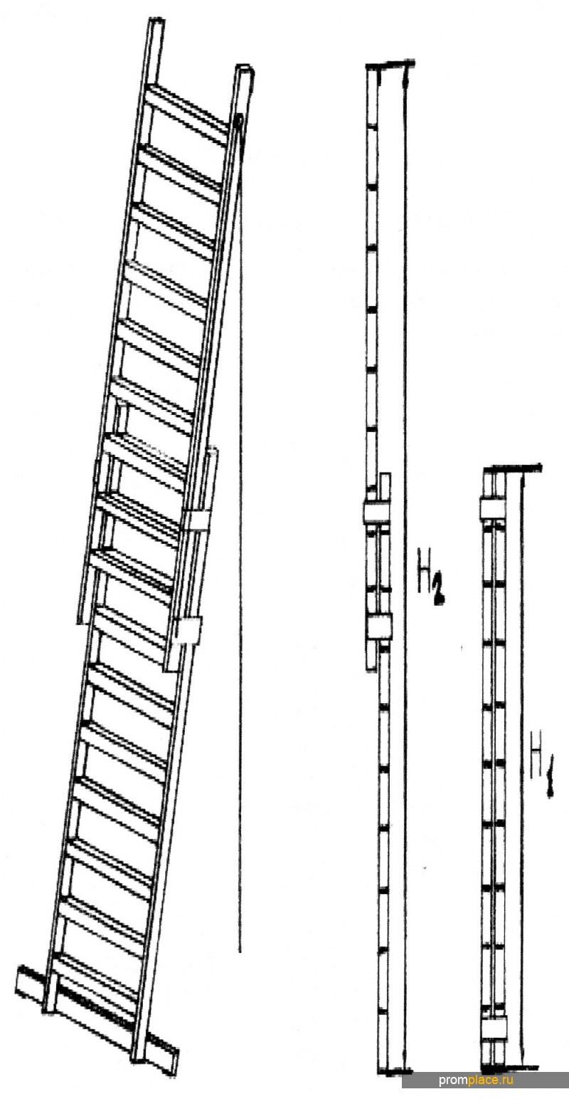 Лестница приставная выдвижная (телескопическая) на канатной тяге. Алюминиевая сварная. Рабочая высота: 4.0 m - 10,0 m