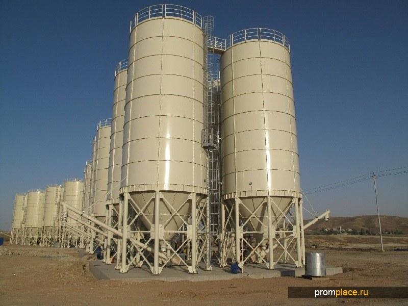 Цементные силосы, цементные терминалы и перегрузочные комплексы.