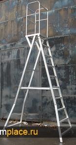 Стремянка алюминиевая сварная с огороженной площадкой Л-31А. Рабочая высота: 3,0 m – 6,75 m
