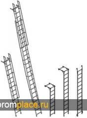 Лестницы приставные алюминиевые с поручнями ЛПНА