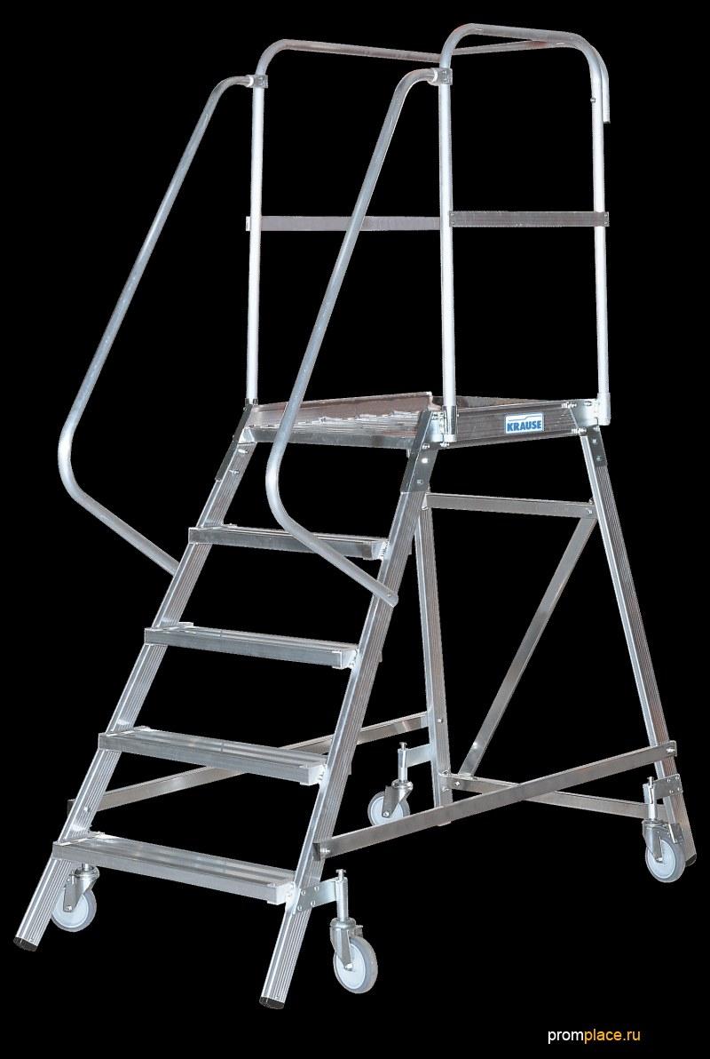 Лестница с платформой, передвижная, односторонняя. Рабочая высота: 2,71 m – 3,90 m