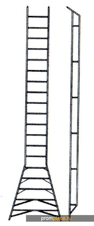 Лестница приставная разборная переносная ЛПРП. Рабочая высота: 2,0 m – 17,0 m