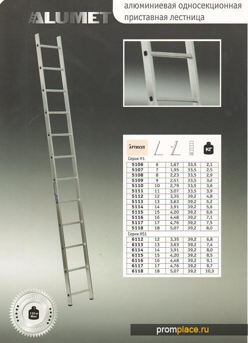 Лестницы приставные односекционные (Алюминиевые)