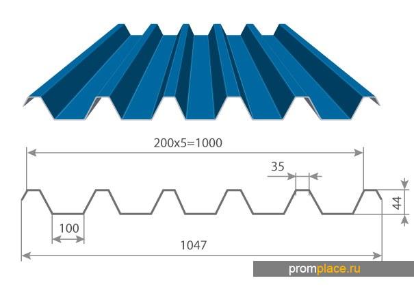 Профнастил с полимерным покрытием С-44х1000/1047