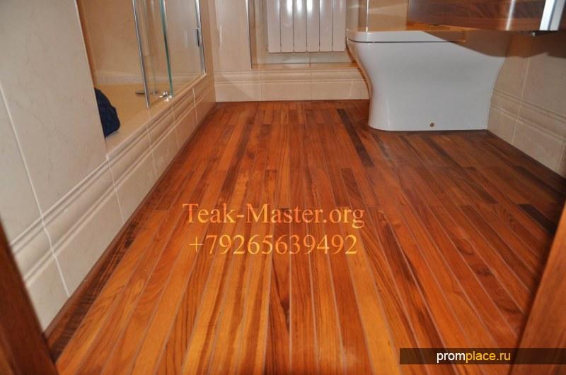 Деревянный Пол в ванной комнате из тика, от Тик-Мастер