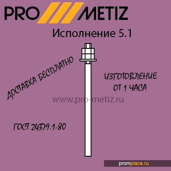 Фундаментный болт 5.1 М30Х500 09г2с ГОСТ 24379 1.80 ГОСТ 24379.1-2012