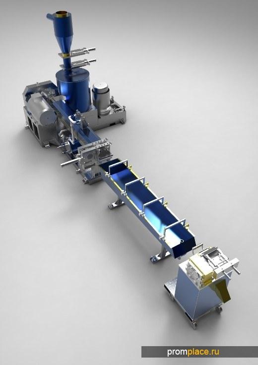 Гарнулятор ПЭТ экструдер Пэт Линия грануляции для ПЭТ PET от 50 до 600 кг/ч. Переработка ПЭТ