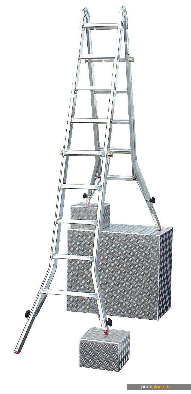 TeleVario Шарнирная телескопическая лестница c 4 удлинителями стоек. Рабочая высота: 3,00 m – 6,35 m
