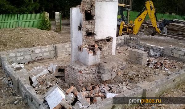 Демонтаж старого основания дома