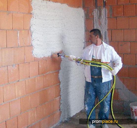 Обрабока стен механихированным способом