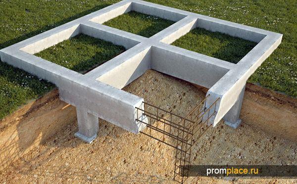Столбчато-ленточная конструкция фундамента